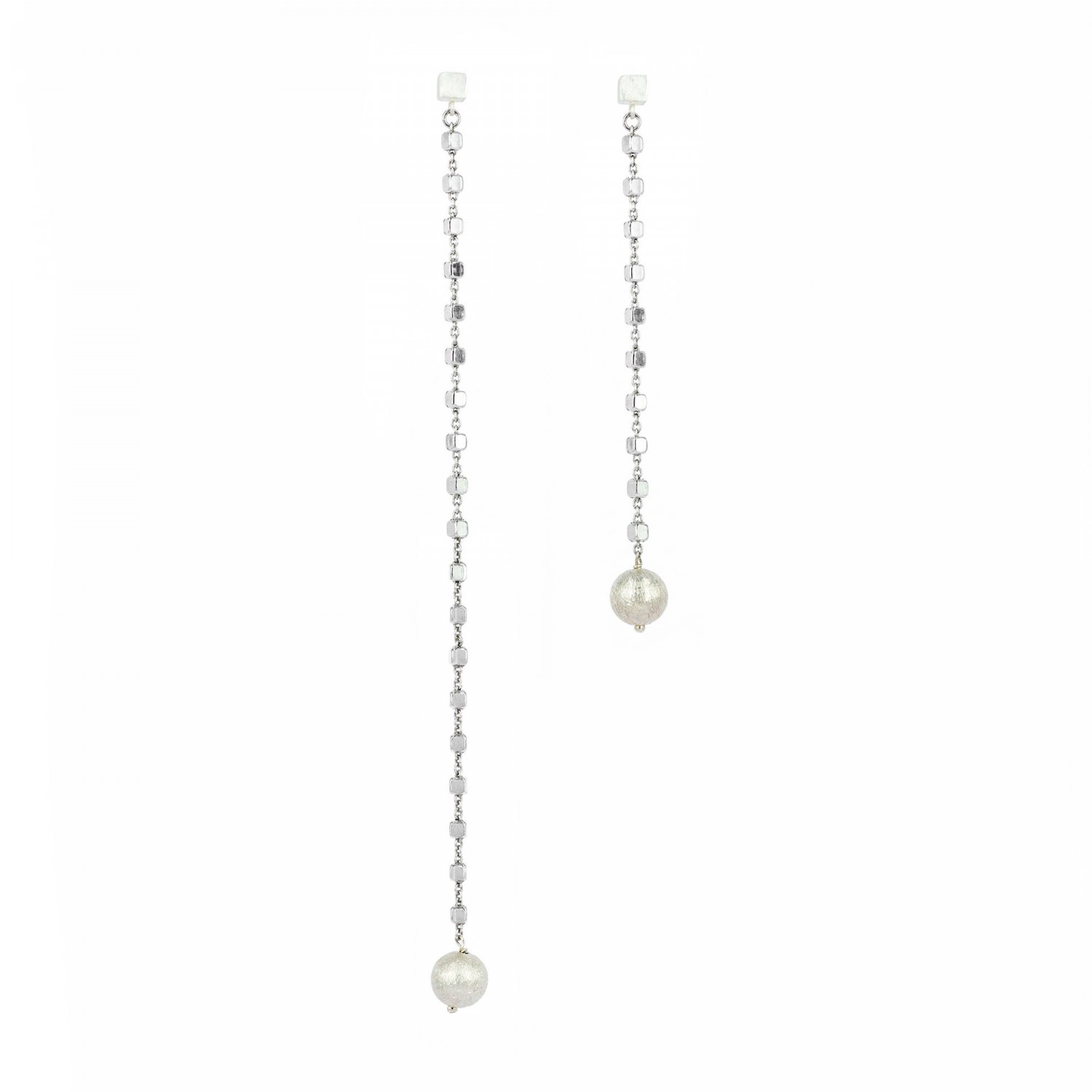 Tiny Cubes and Sphere Long Earrings 1