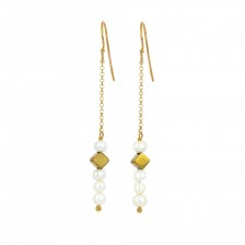 Gemstone and Rhombus Earrings