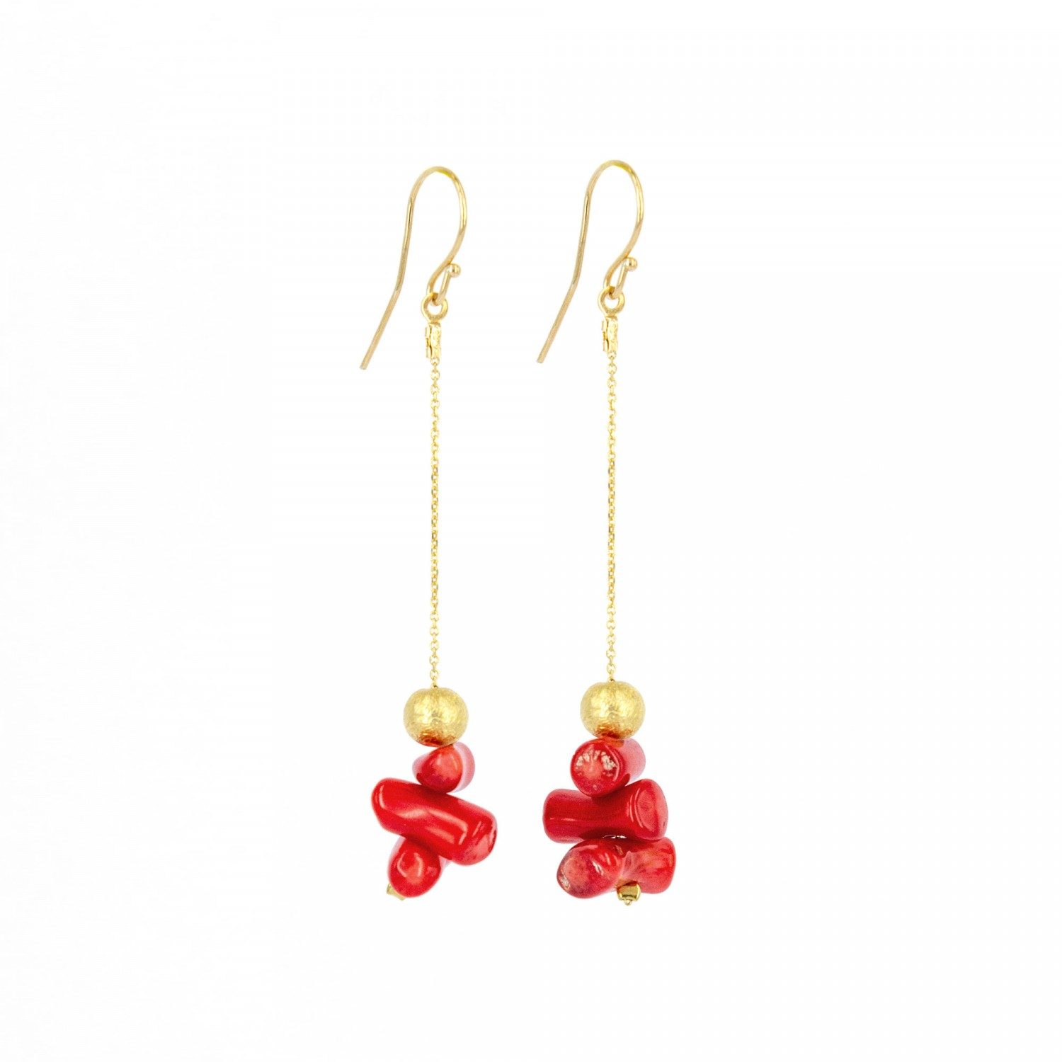 Coral and Sphere Bead Earrings