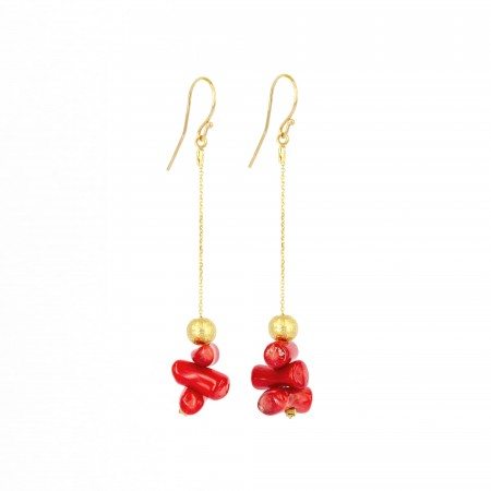 Coral and Disc Earrings