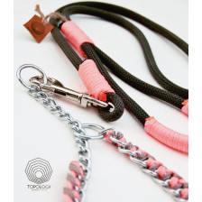 Charcoal Gray and Pink  Rope Dog Leash