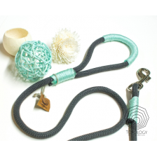 Charcoal Gray and Mint  Rope Dog Leash