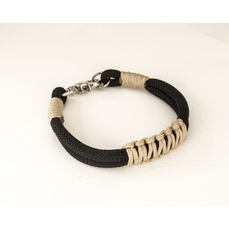 Black and Beige Rope Dog Collar