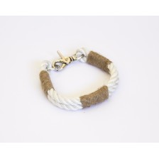 Satin White Nautical Rope Dog Collar
