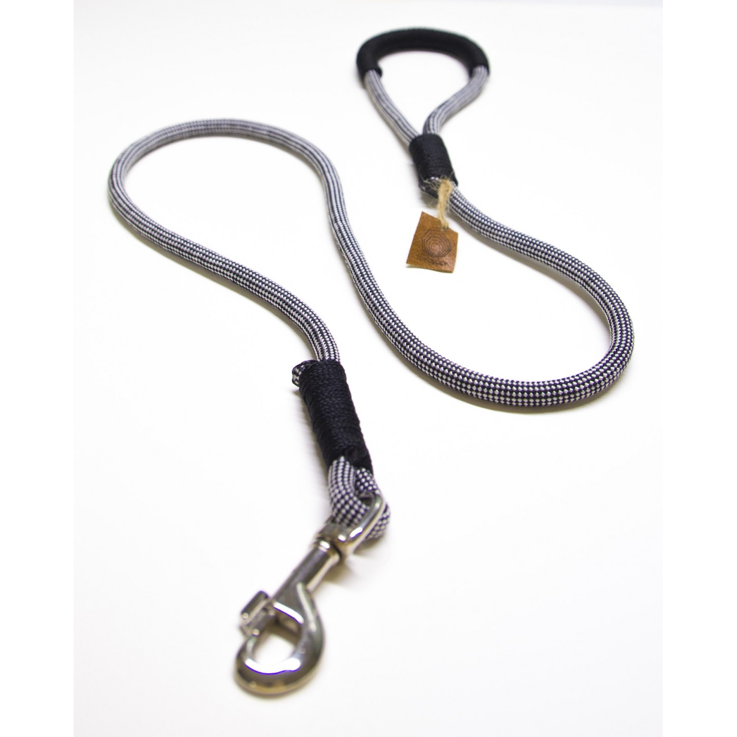 Checkers Black & White Rope Dog Leash