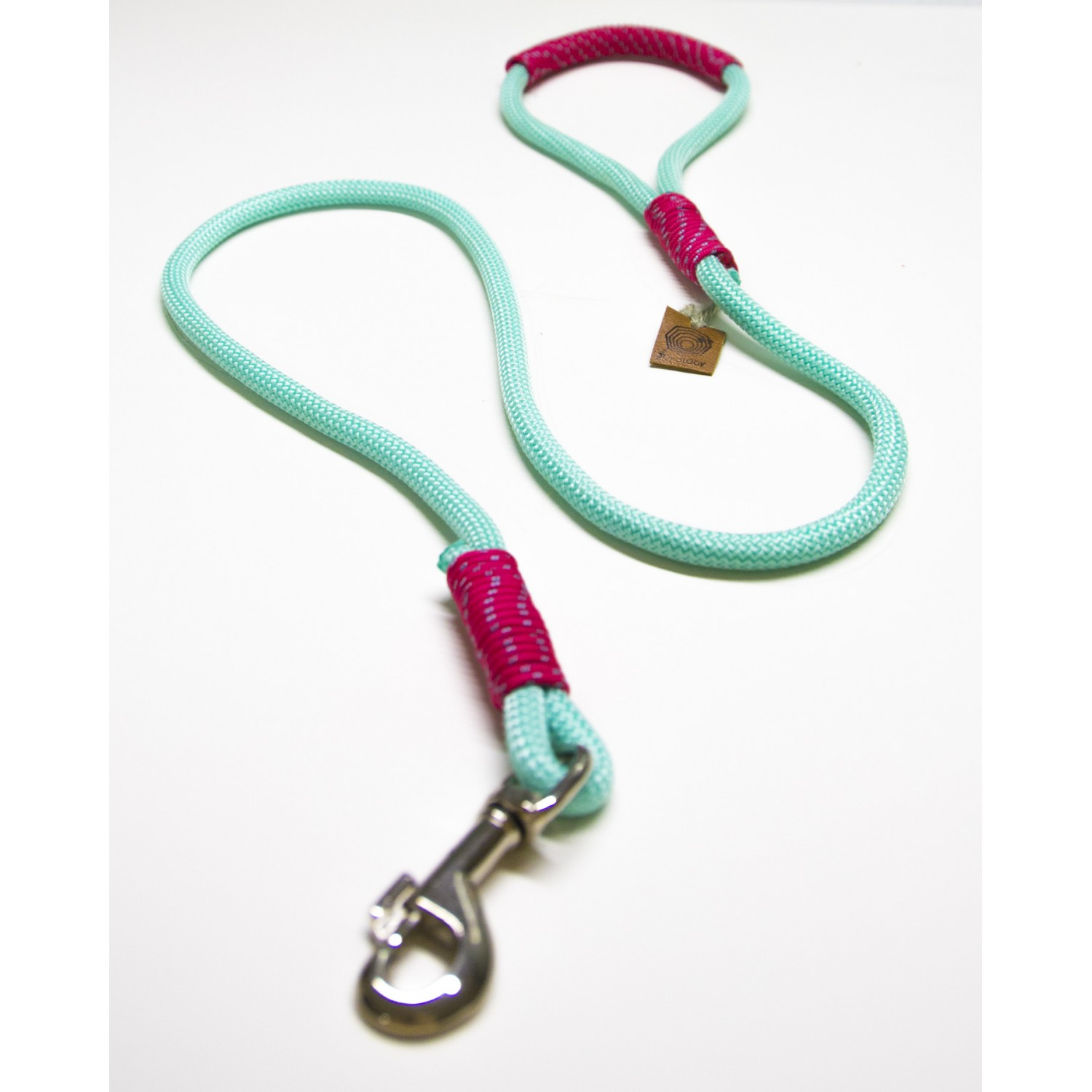 Neon Mint & Hot Pink Rope Dog Leash