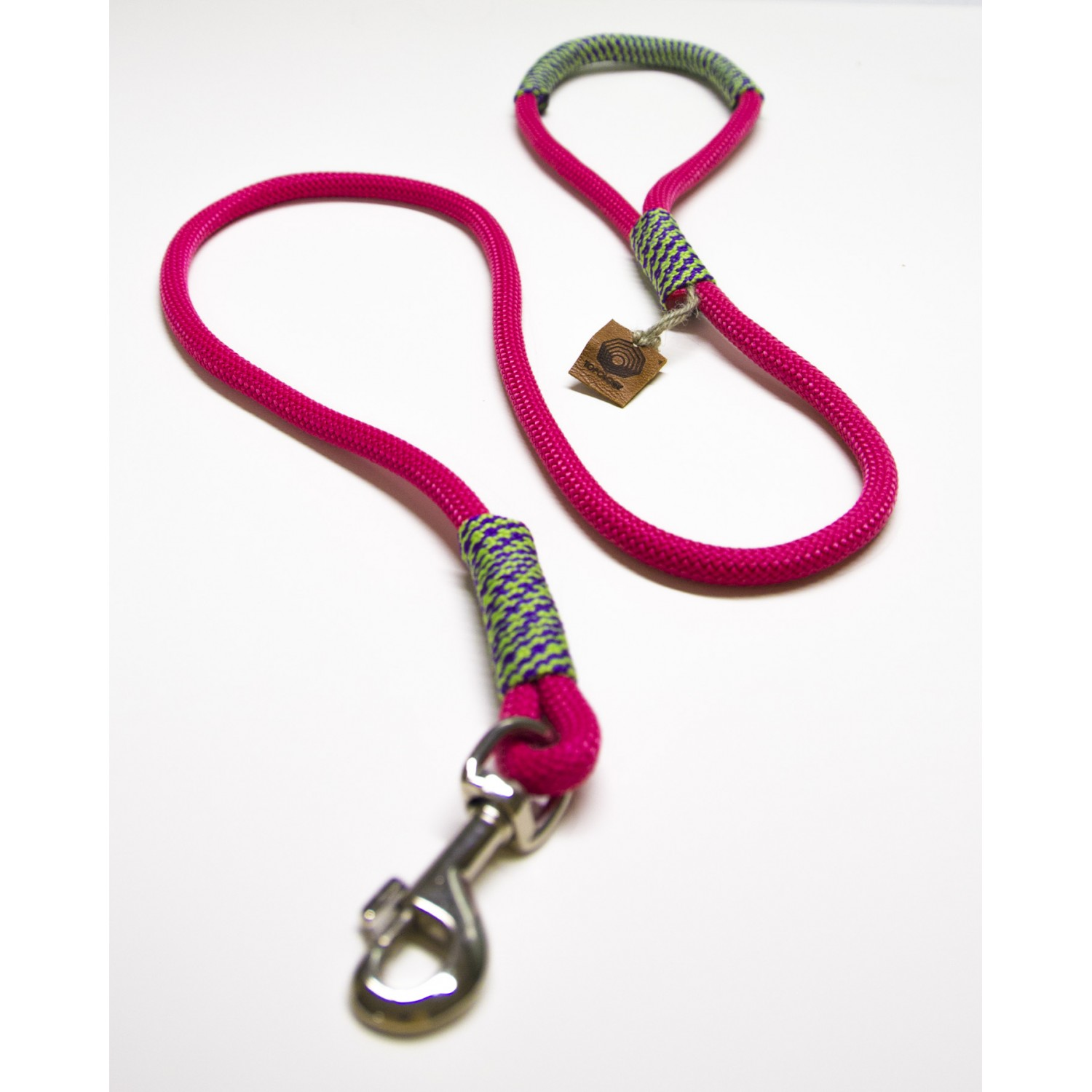 Neon Hot Pink & Lime Rope Dog Leash