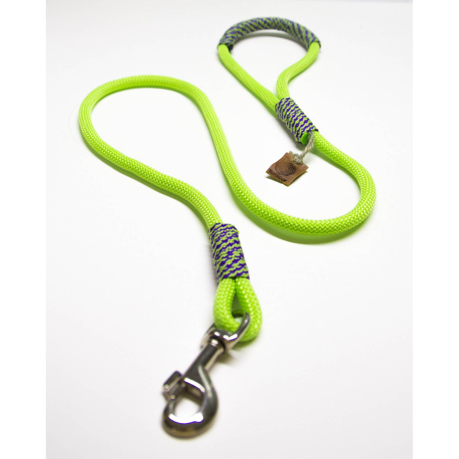 Neon Lime Green & Indigo Purple Rope Dog Leash