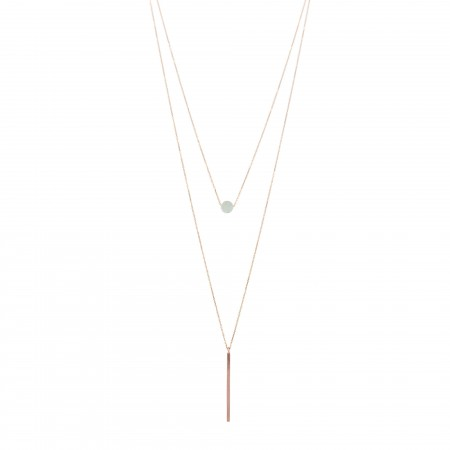 Double Layered Flat Bead and Slim Bar Necklace