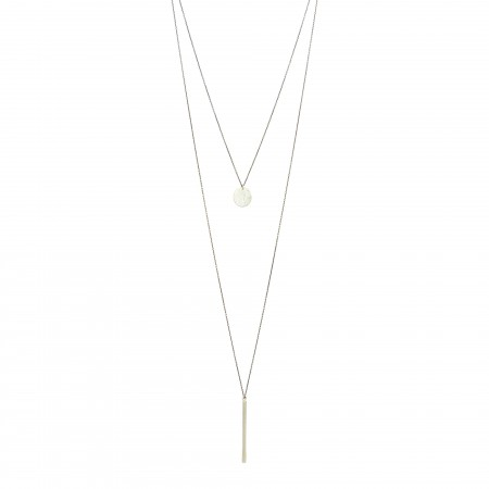 Double Layered Disc and Slim Bar Necklace