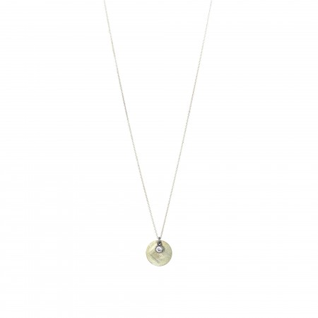 Silver Disc and Zirconia Necklace
