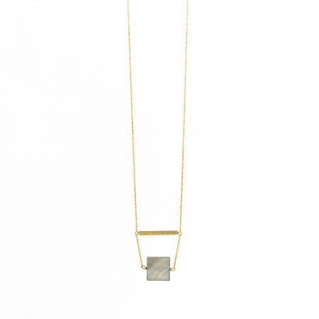 Mother of Pearl Flat Bead & Gold Tube Necklace