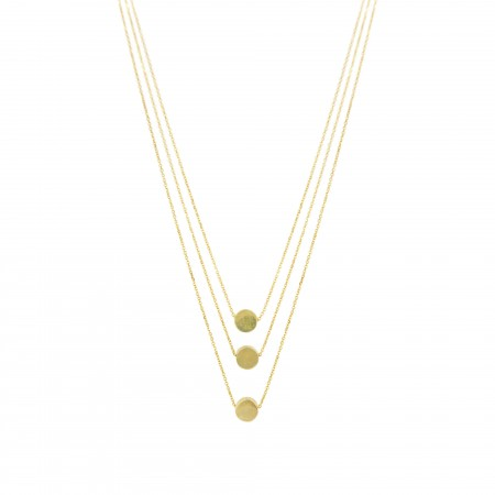 Triple Layered Flat Bead Necklace