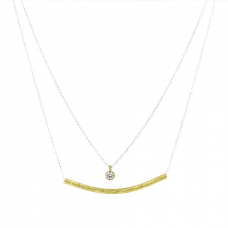 Double Layered Tube & CZirconia Necklace