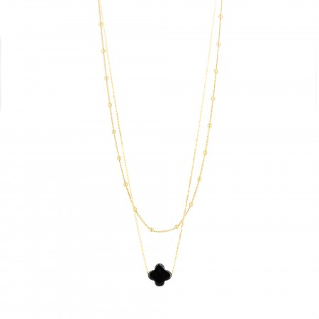Double Layered Satellite Chain & Cross Necklace