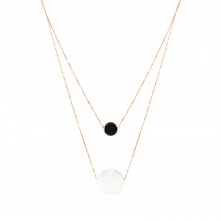 Double Layered Mother of Pearl & Hematite Necklace