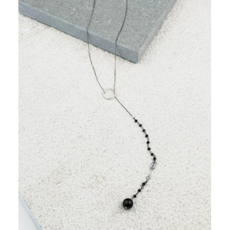 Circle & Arrow black Onyx Rosary Tie Necklace