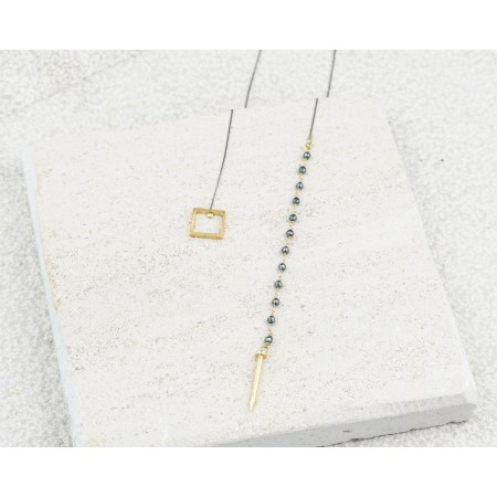 Square & Nail Rozary Tie Necklace