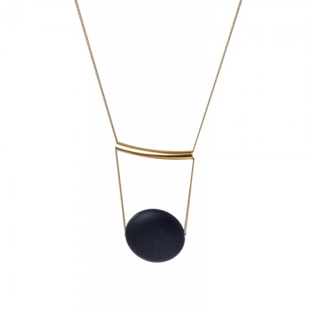 Black Flat Lava Sphere & Gold Bar Necklace