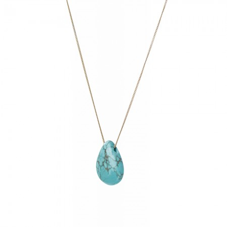 Long Necklace with Large Turquoise Tear Drop