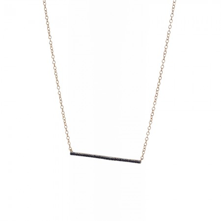 Black  C Zirconia Bar Necklace