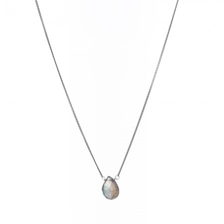 Labradorite Teardrop Dainty Necklace