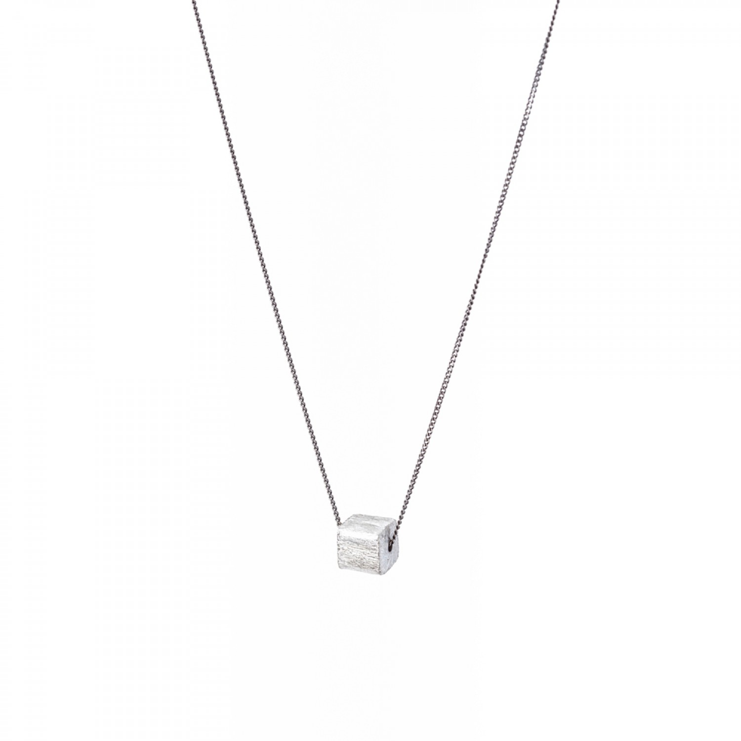 Tiny Silver Cube Necklace