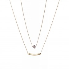 Double Layered Tube & Cross  Necklace
