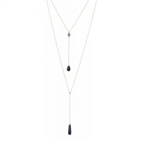 Double Layered Y Necklace with CZirconia Disk & Black Onyx Drops