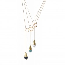 Gold Cone  and Gemstone Tie Necklace