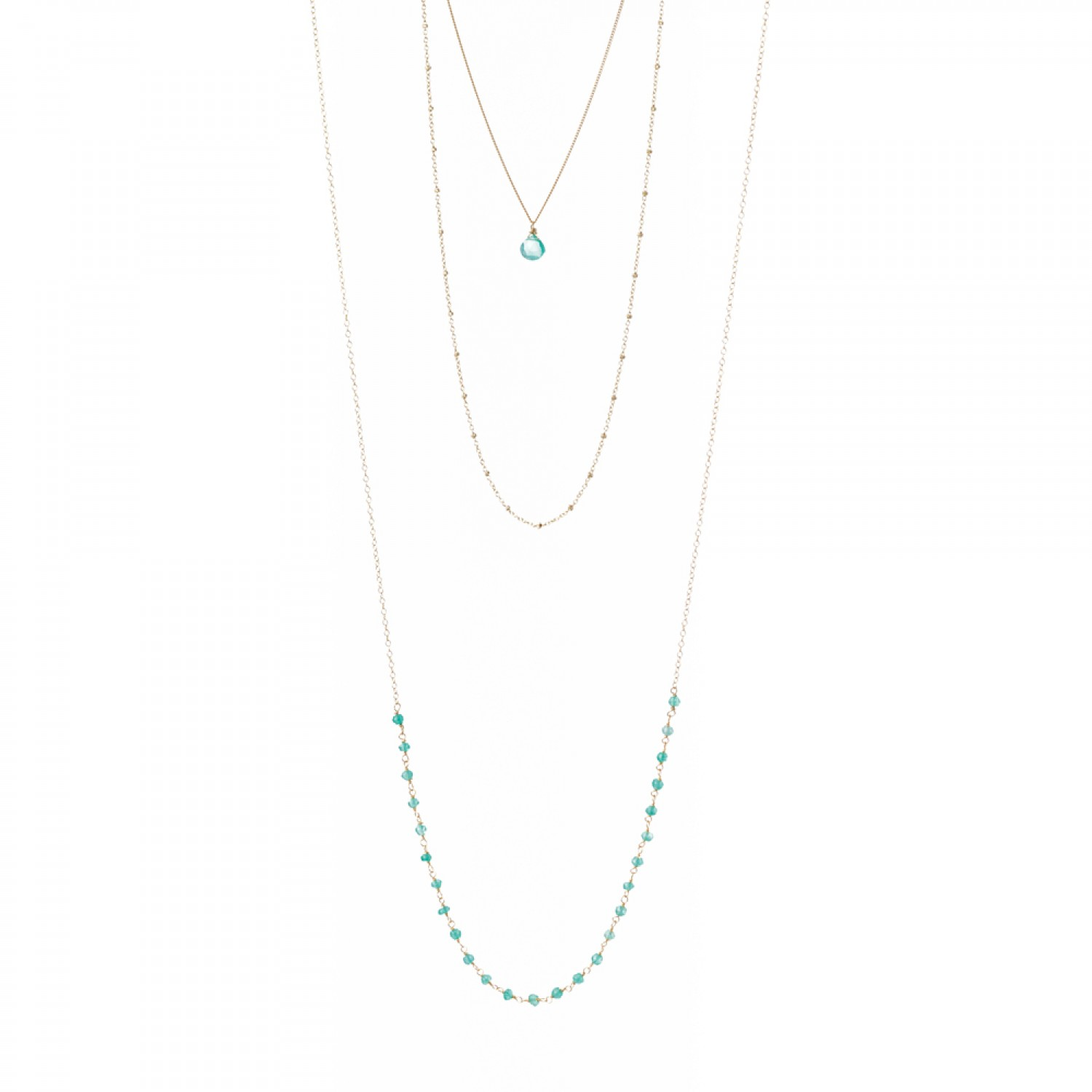 Triple Layered Green Onyx Necklace