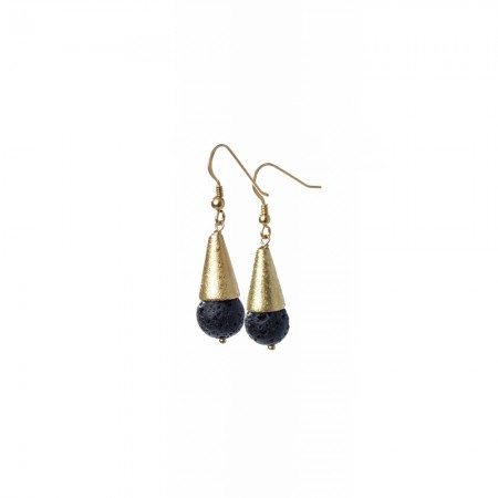 Gold Cone and Gemstone Dangle Earrings