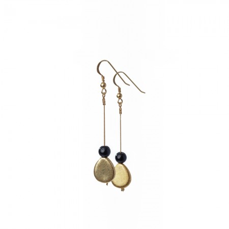 Gold Teardrop and Gemstone Dangle Earrings