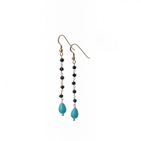 Black Onyx Rosary & Turquoise Drop Earrings