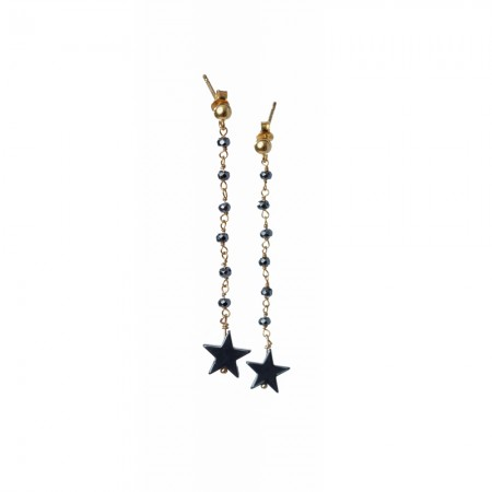 Hematite Star Dangle Earrings