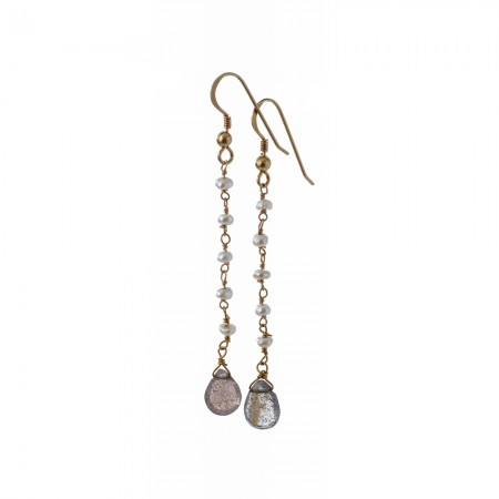 Labradorite Teardrop & Pearl Rosary Dangle Earrings