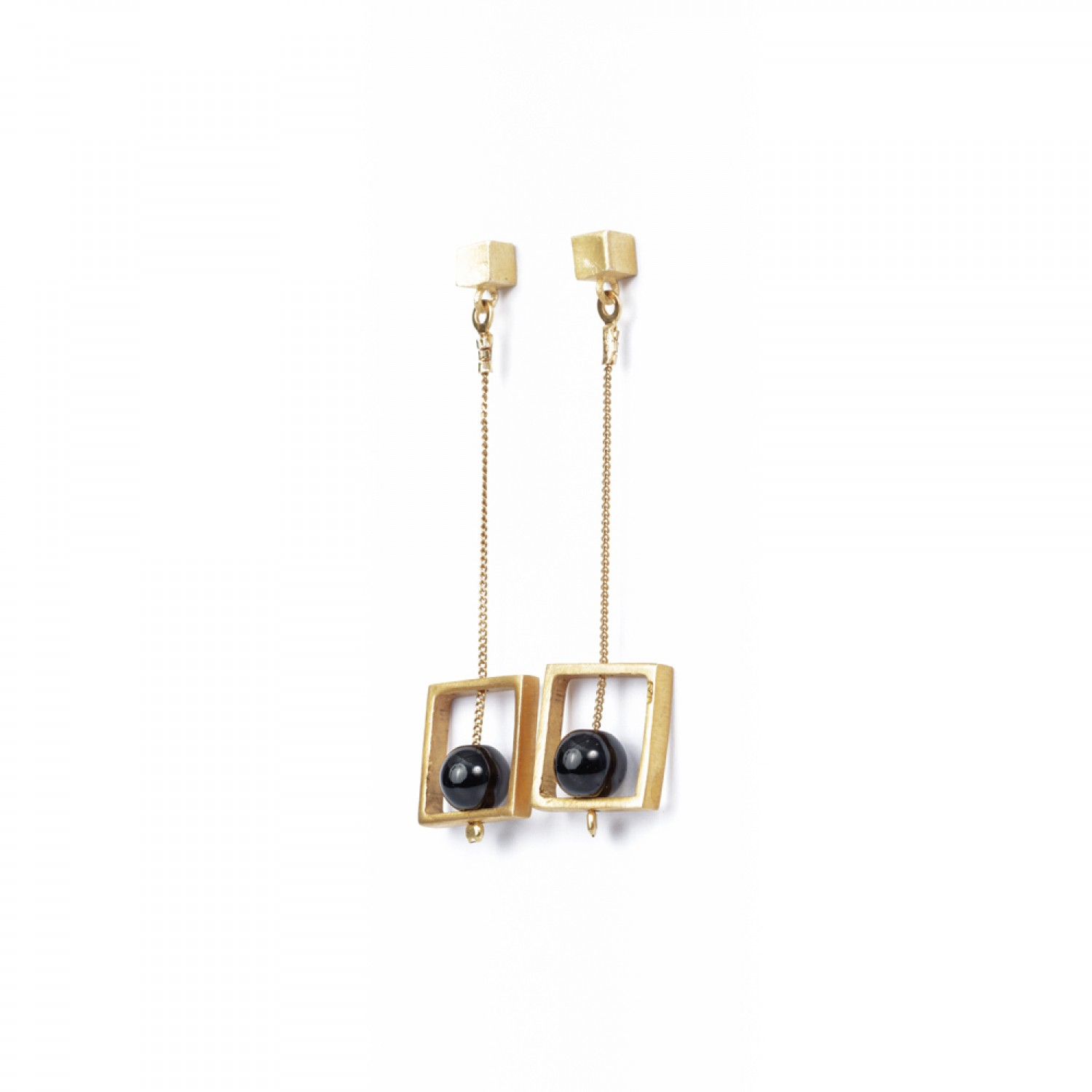 Gold Square Dangle Earrings