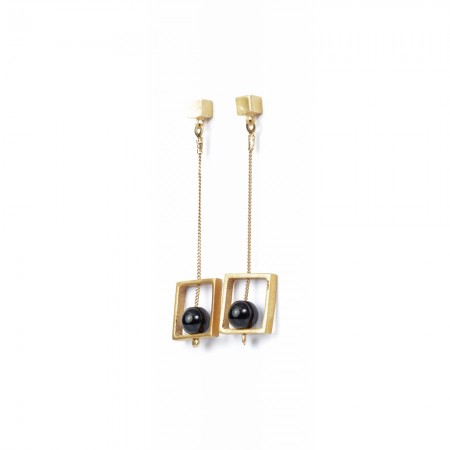 Gold Square Long Earrings