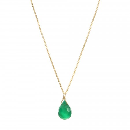 Green Onyx Drop Dainty Necklace