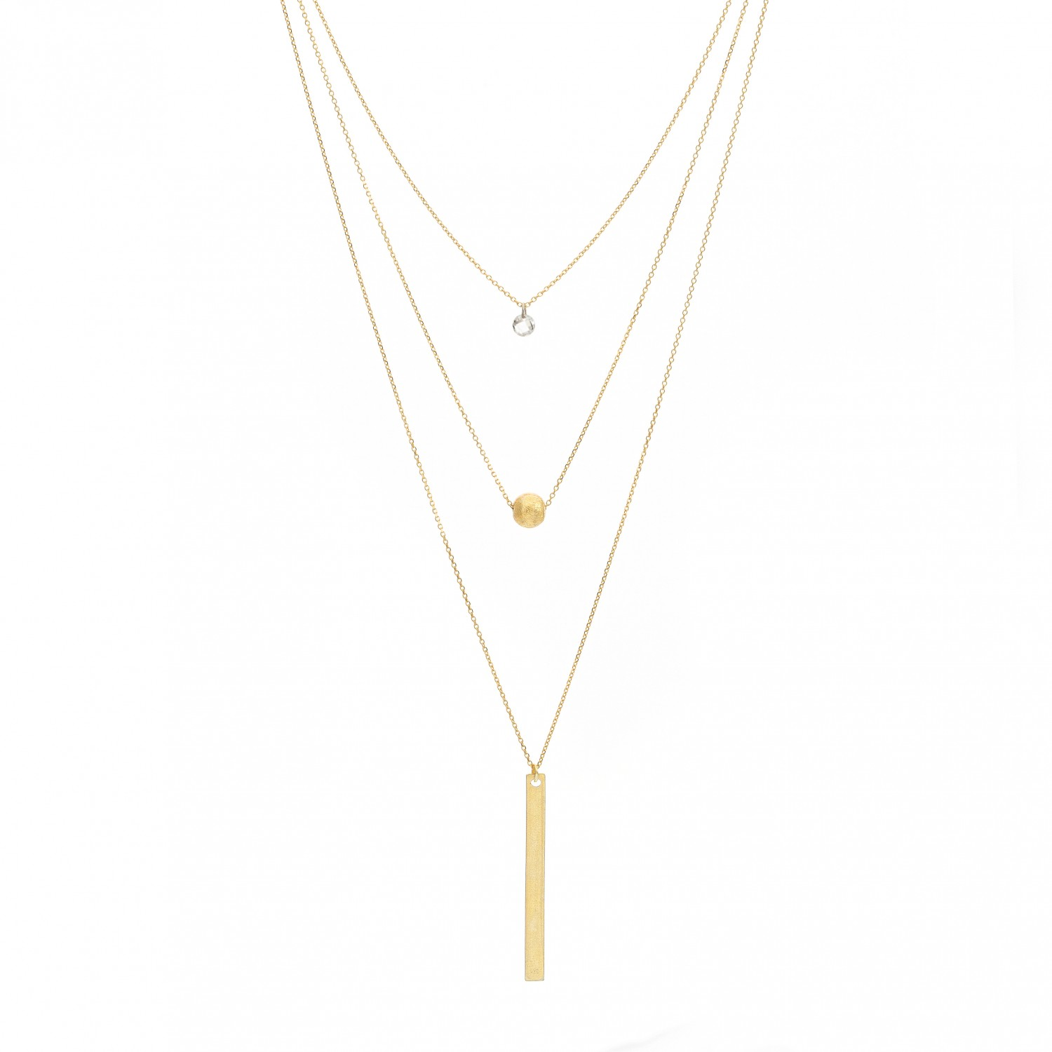 Triple Layered CZirconia & ID Bar Necklace
