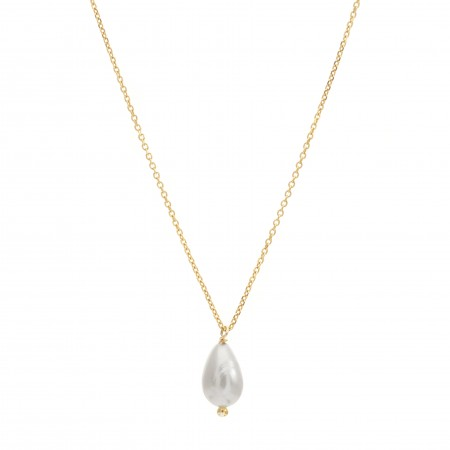 White Pearl Drop Necklace