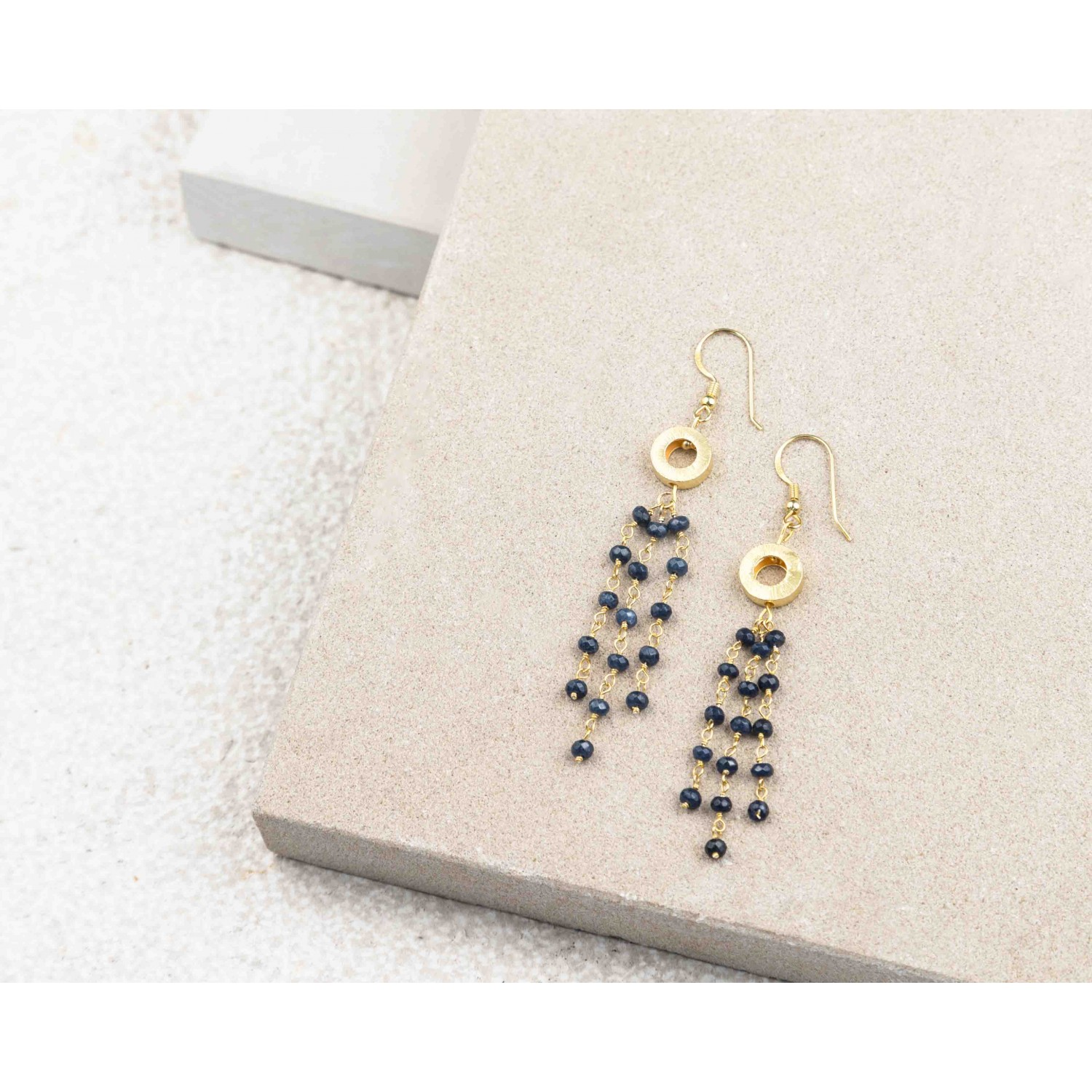 Gold Circle and Gemstone Rosary Earrings