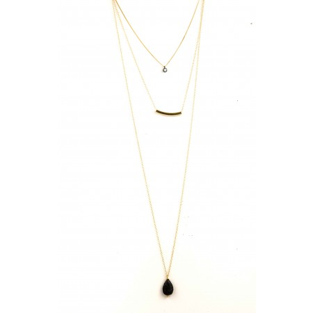 Triple Layered Black Lava Teardrop Necklace
