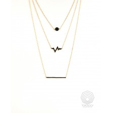 Black  CZirconia Heartbeat Necklace